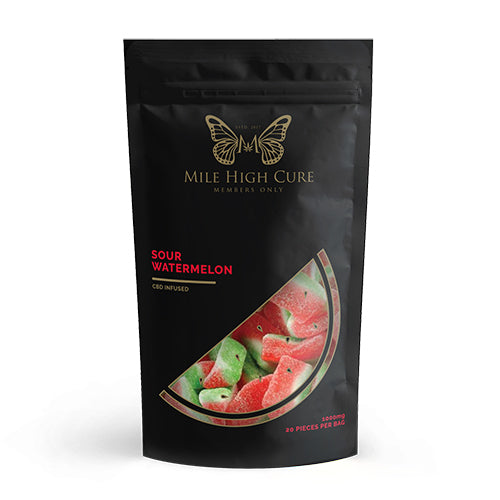 Mile High Cure Sour Watermelon gummies 1000mg