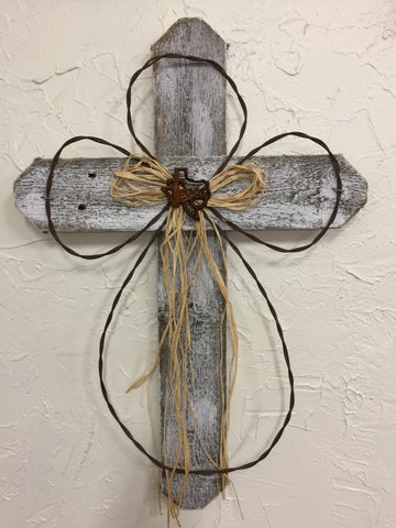 "Rustic Whitewashes 24"" Cross"