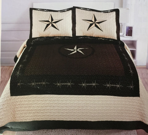 Cream Texas Star 3 pcs Quilt Set