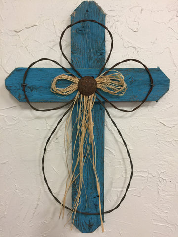 "Rustic Turquoise 24"" Weathered Cross"