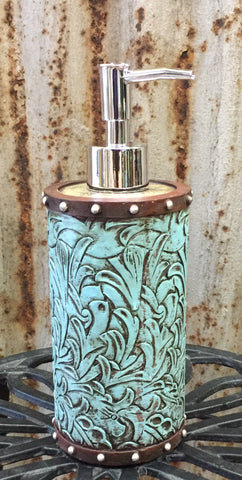 Turquoise Tooled Flower Soap/Lotion Pump