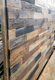 Roughsawn barnwood panel headboard close up