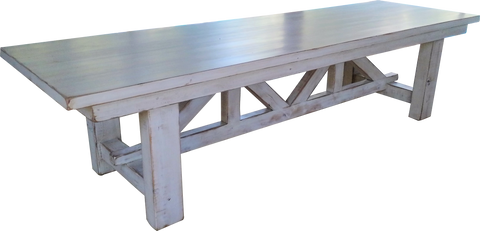 Distressed white Harvest table with intricate base design
