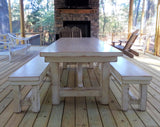 Distressed white Harves table with matching bench set