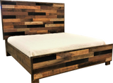 Roughsawn barnwood panel bed