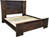 Platform bed with cap and wide roughsawn boards