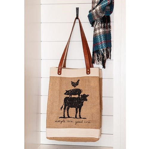 Farm Animal Burlap Tote