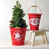 Farmhouse Santa Metal Buckets - Set of 2