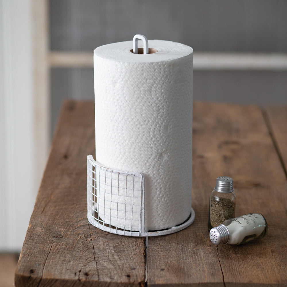 White Mesh Paper Towel Holder