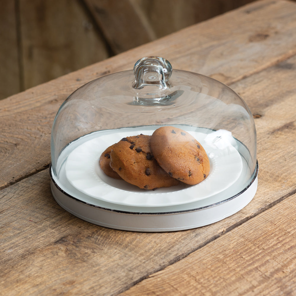 Chippy Dessert Stand with Glass Cloche