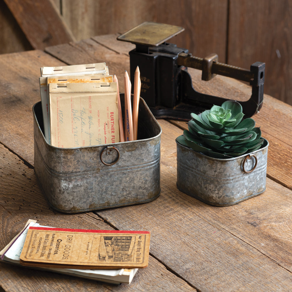 Rustic Square Bins - Set of 2