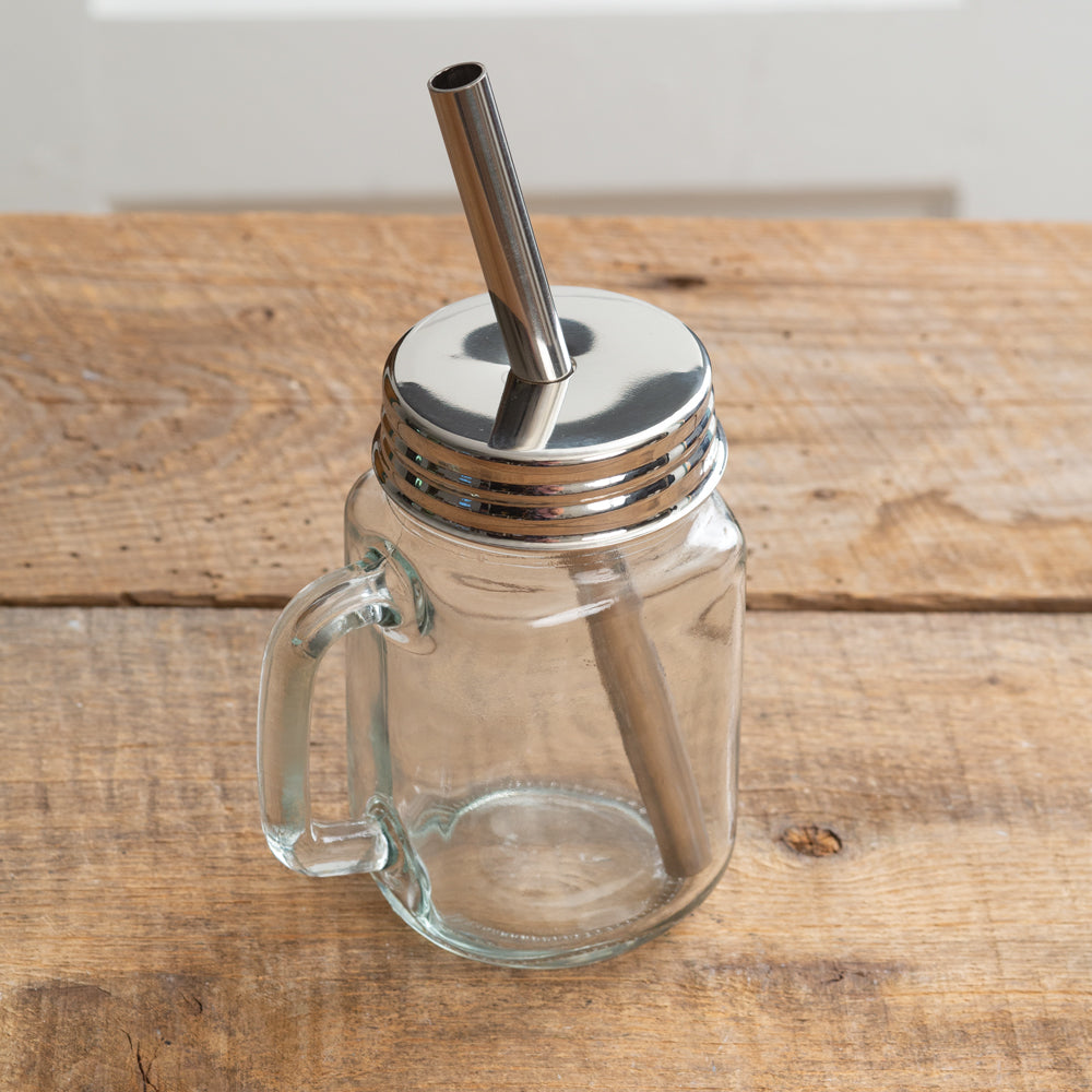 Set of 2 - Mason Jar Mug with Straw