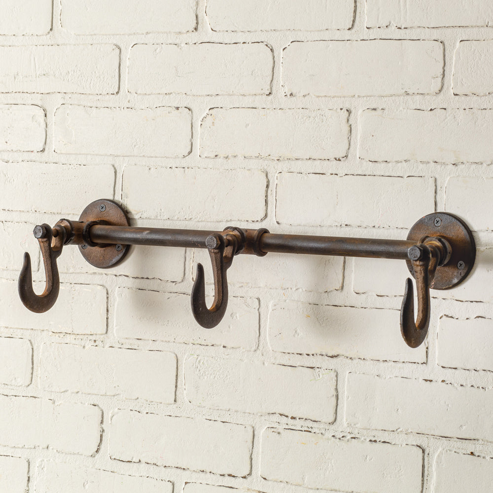 Industrial Three-Hook Wall Rack