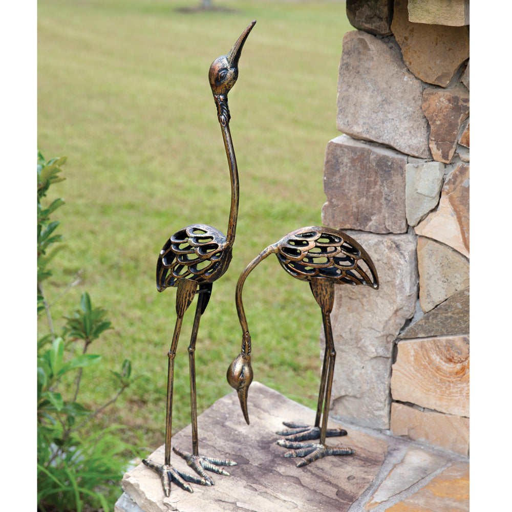 Rustic Crane Statues - Set of 2