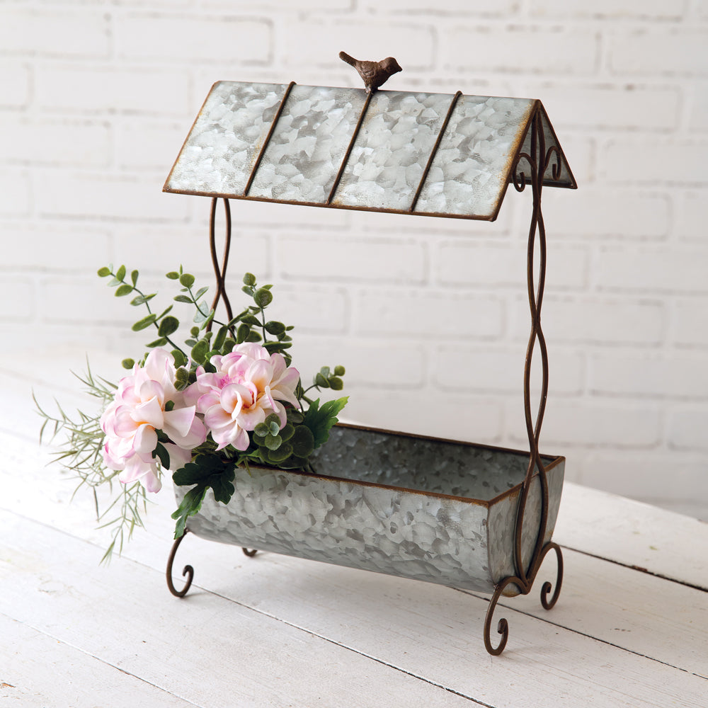 Galvanized Planter with Roof