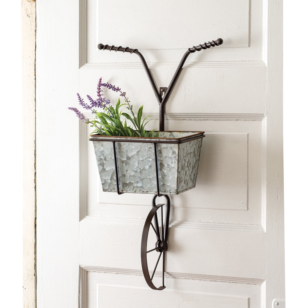 Galvanized Bicycle Wall Planter