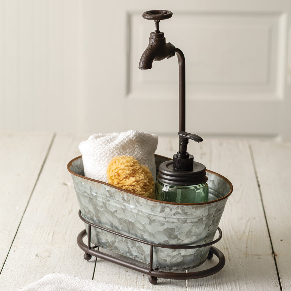 Galvanized Mini Bathtub Organizer