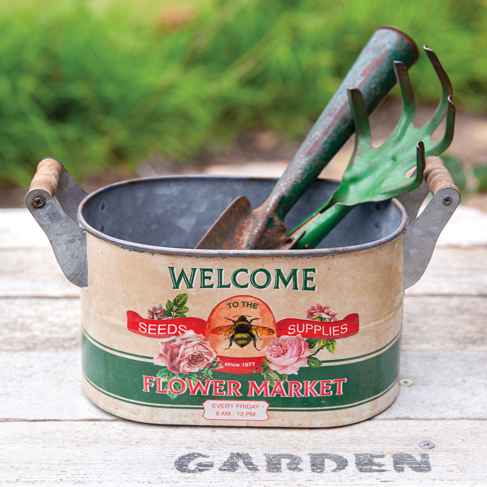 """Welcome to the Flower Market"" Oval Bucket"