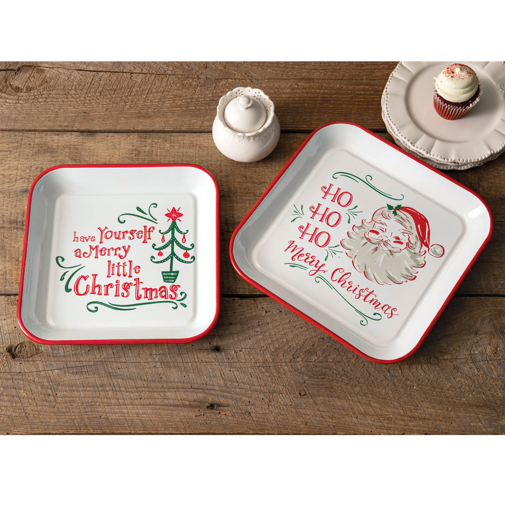 Enamel Christmas Trays - Set of 2