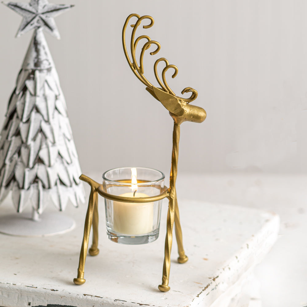 Gold Curly Reindeer Votive Holder