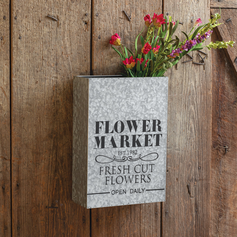 "Galvanized ""Flower Market"" Wall Planter"
