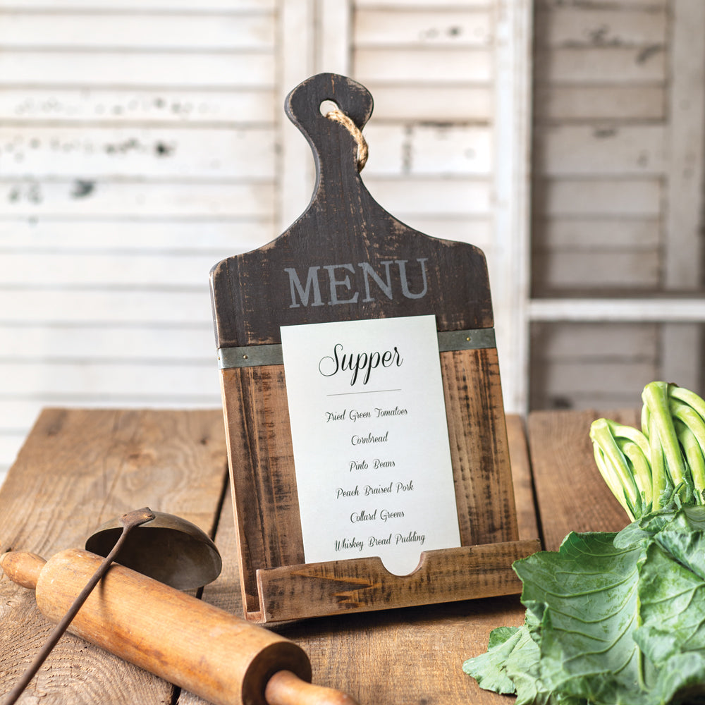 Two-Tone Distressed Menu Holder
