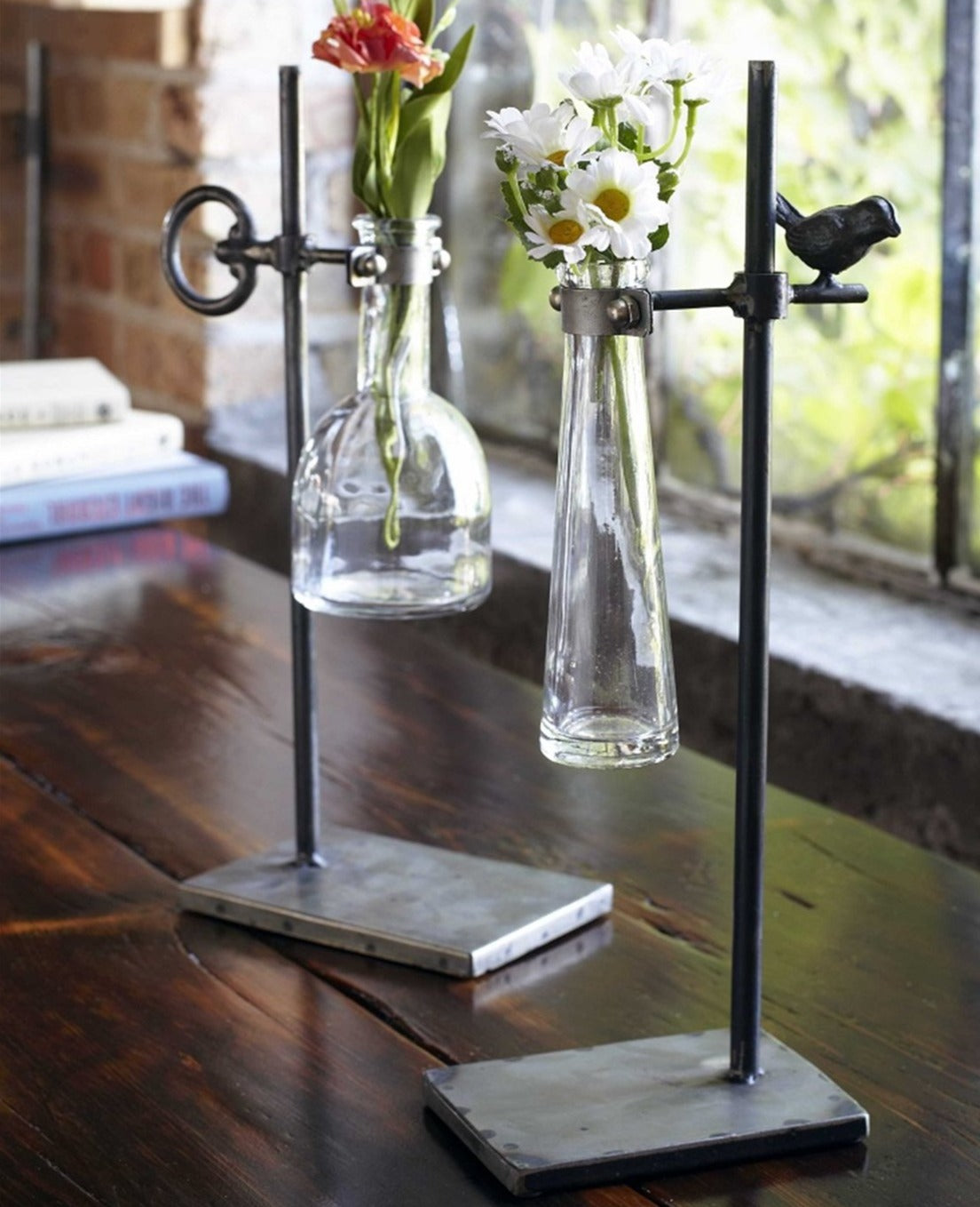 Set of Two Vintage-Inspired Stem Vases
