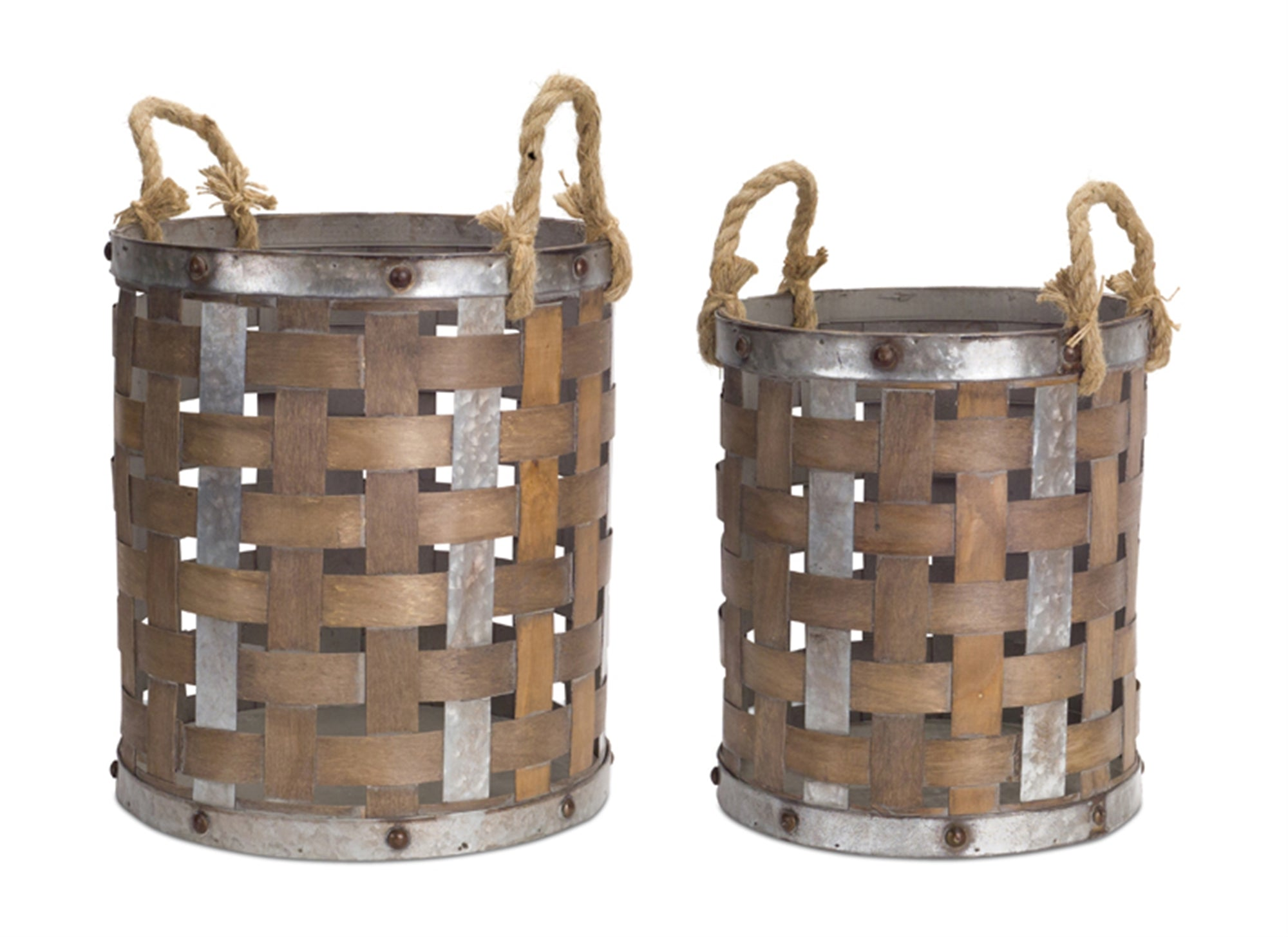 Industrial Set of Metal and Wood Pails