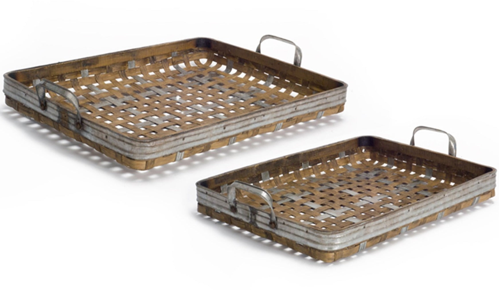 Woven Bamboo and Metal Tray - Set of 2