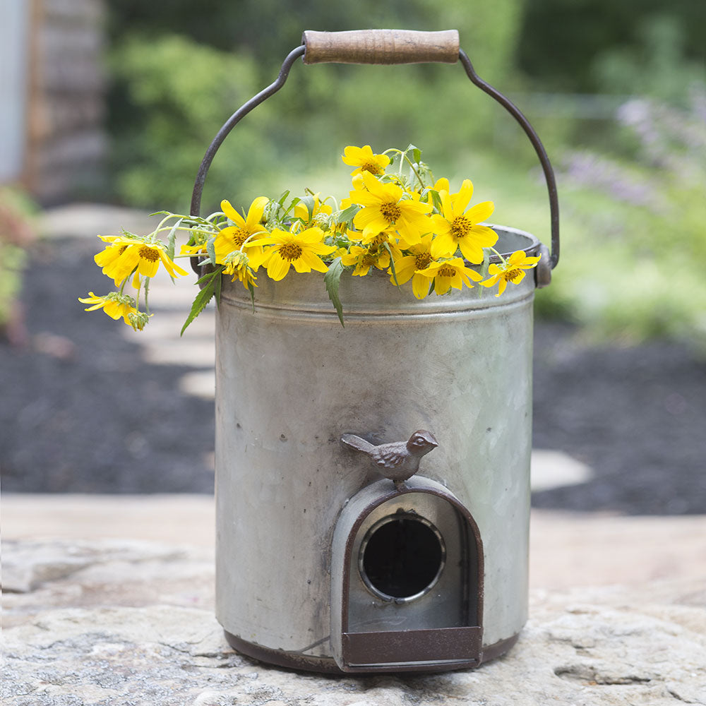 Rustic Bucket Birdhouse Planter