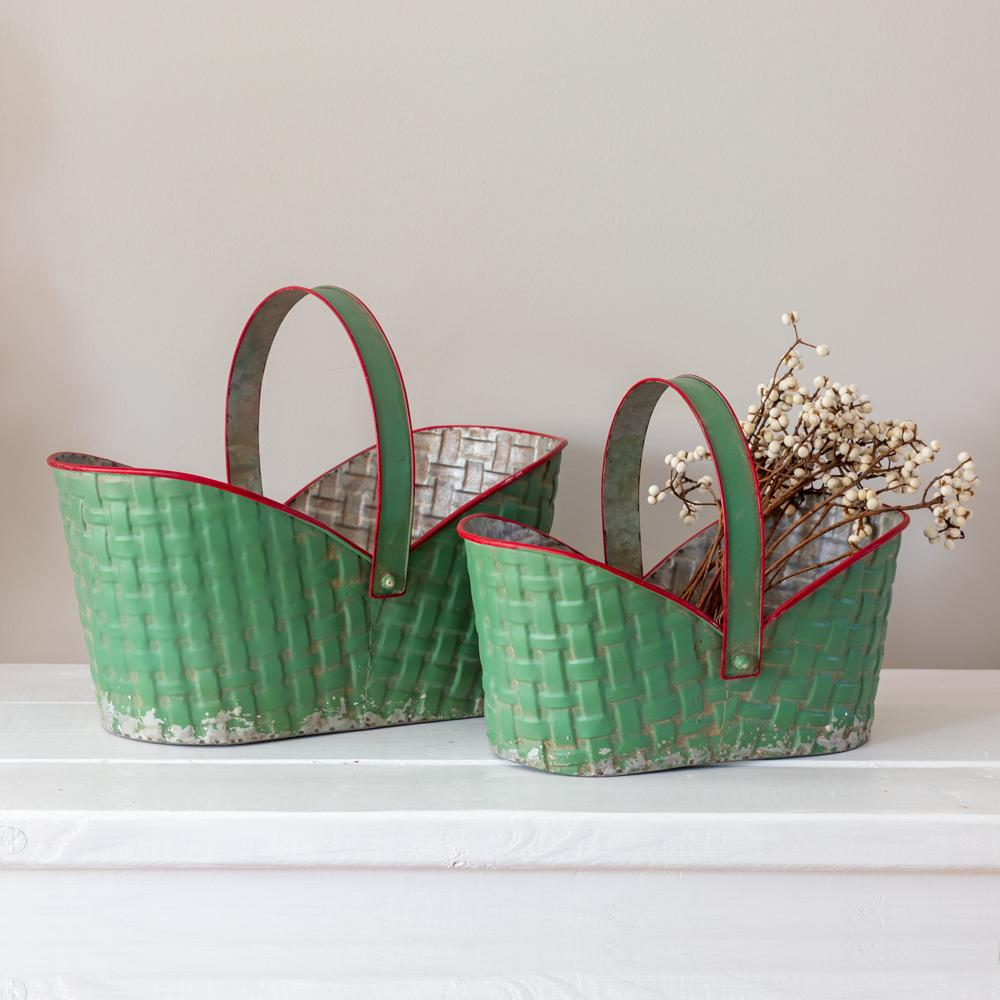 Farmhouse Yule Metal Baskets - Set of 2