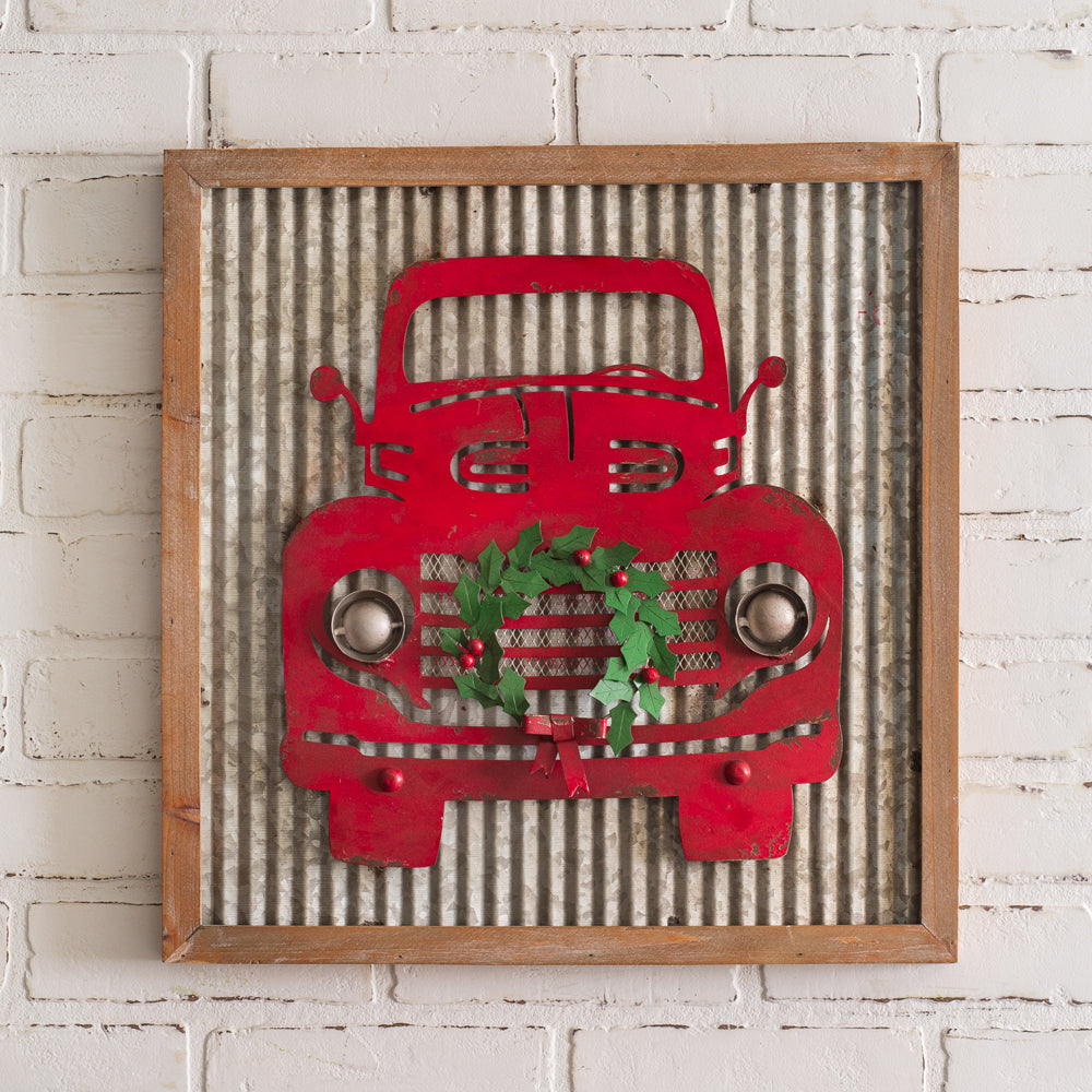 Corrugated Christmas Truck Wall Decor