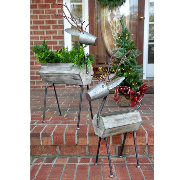 Standing Reindeer Containers - Set of 2
