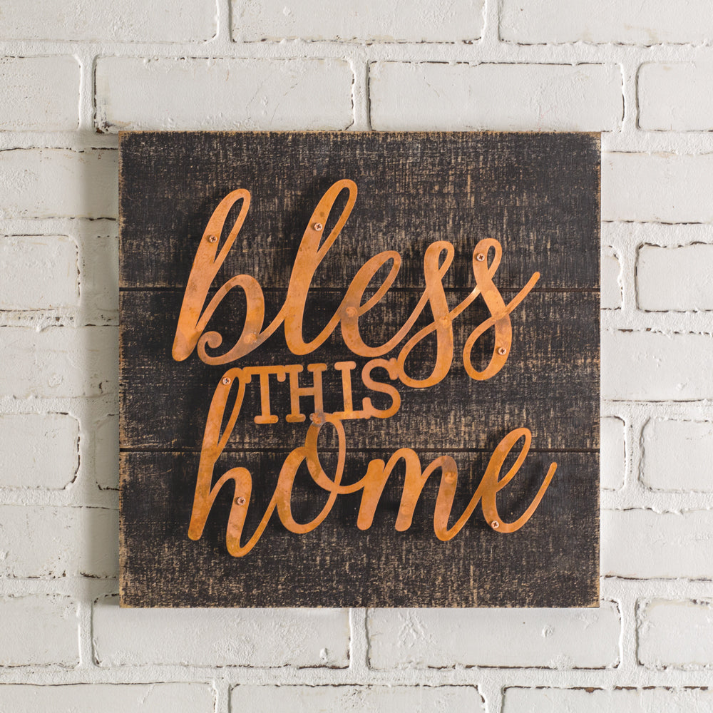 "Rustic ""Bless This Home"" Sign"