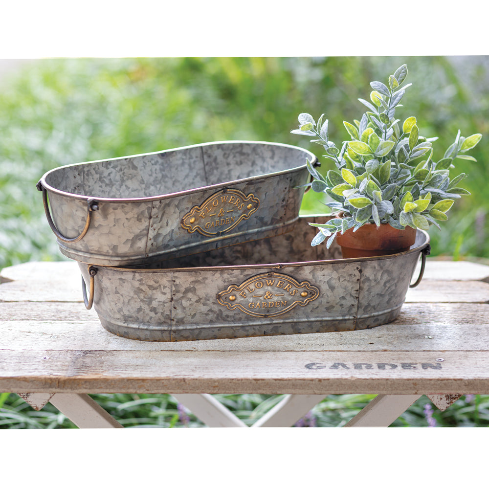 Set of 2 Flowers & Garden Rustic Troughs