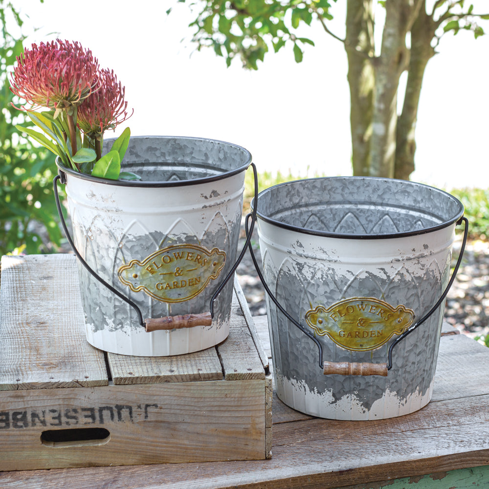 Set of Chippy White Garden Buckets