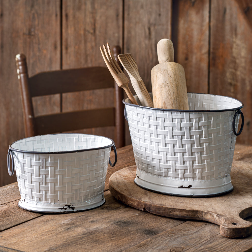 Mercer Weave Oval Buckets - Set of 2