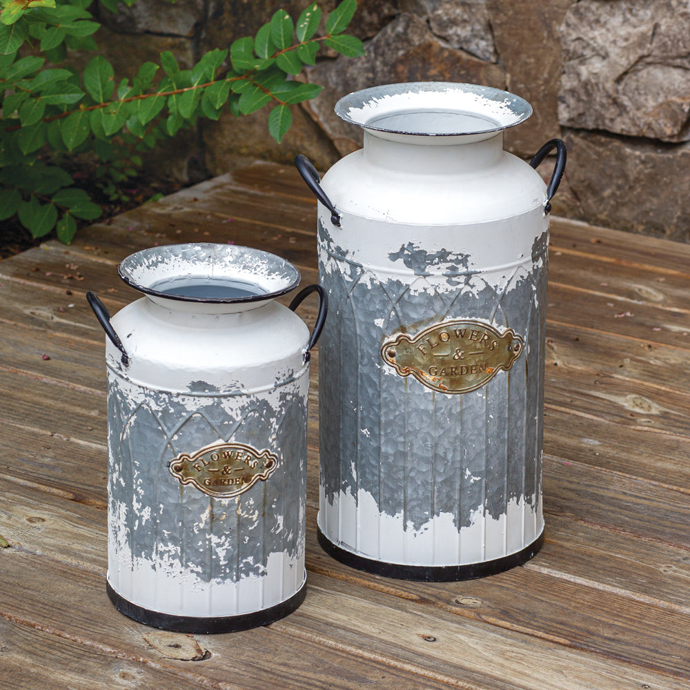 Set of Chippy White Milk Cans