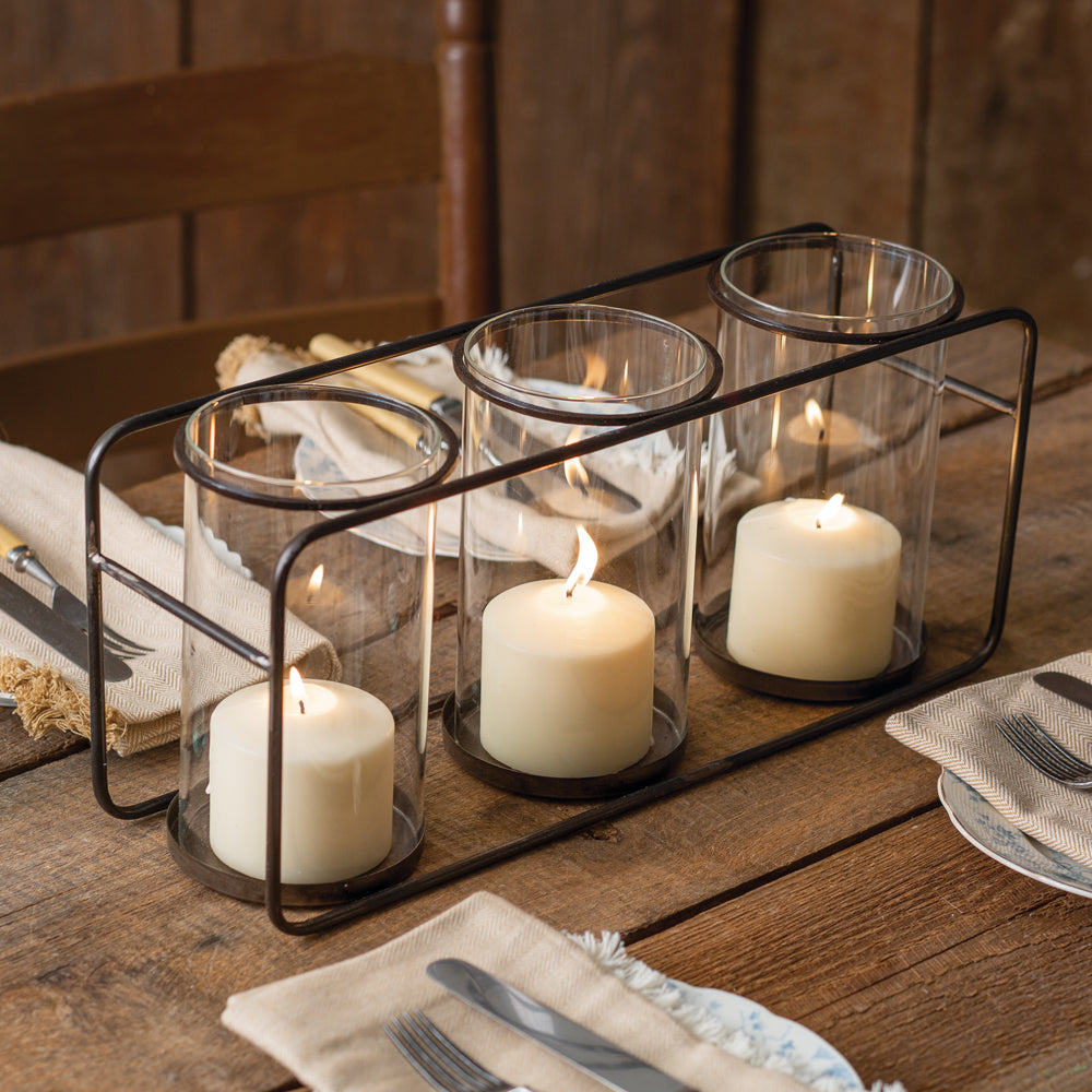 Macon Three Glass Candle Holder