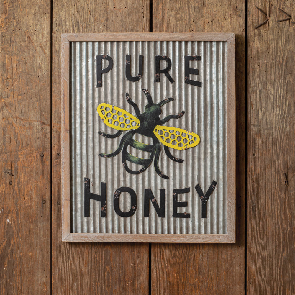 Bee Farm Wood and Metal Sign
