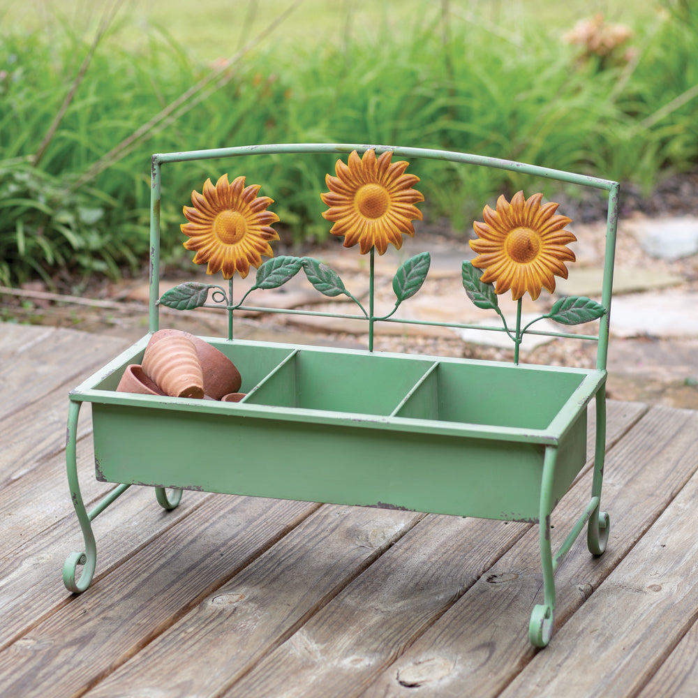 Rustic Sunflower Metal Bench Planter