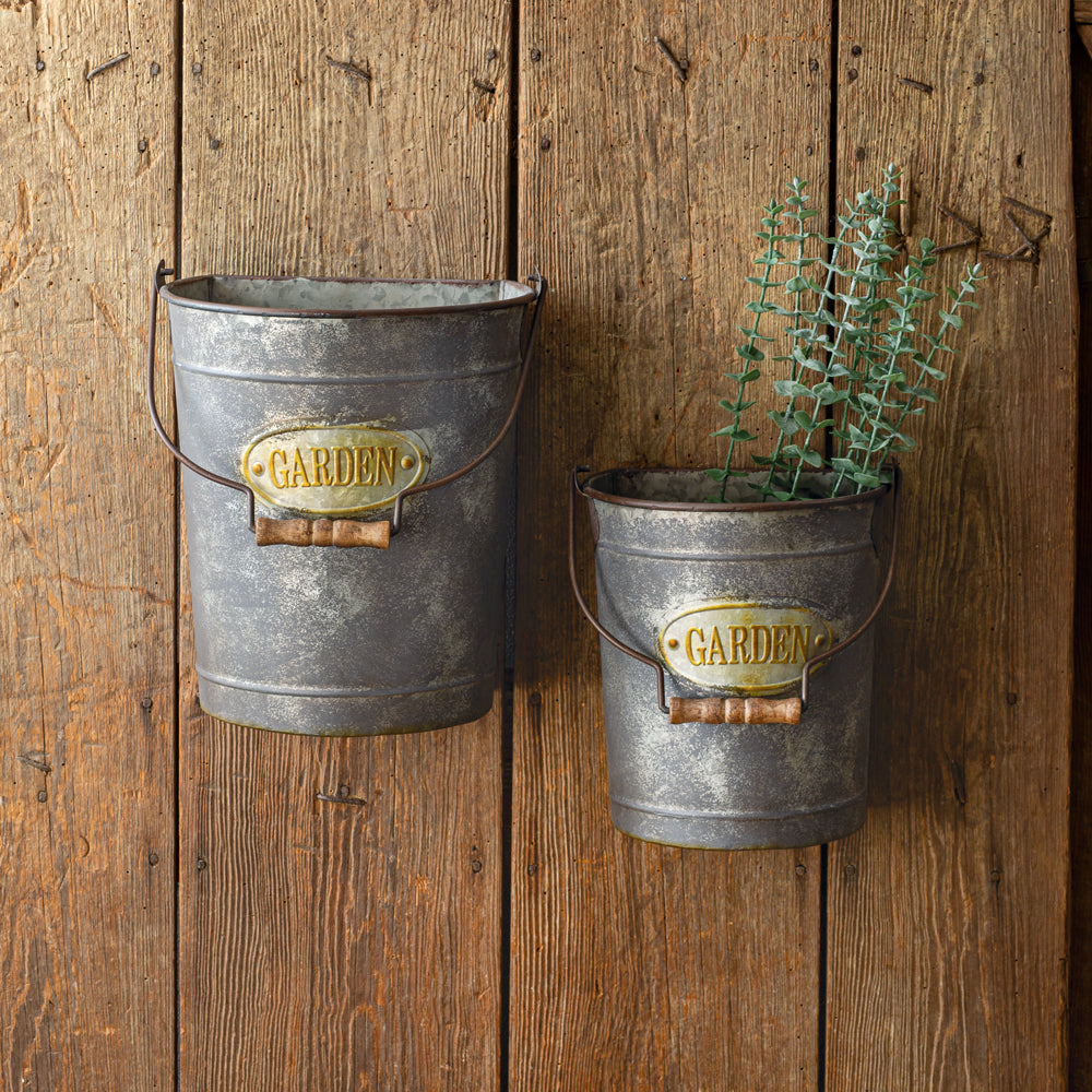 Set of French Country Hanging Buckets