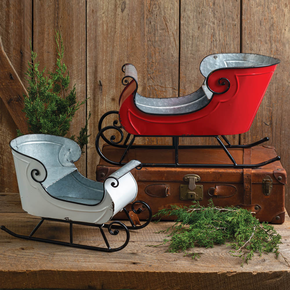 Red & White Christmas Sleigh - Set of 2