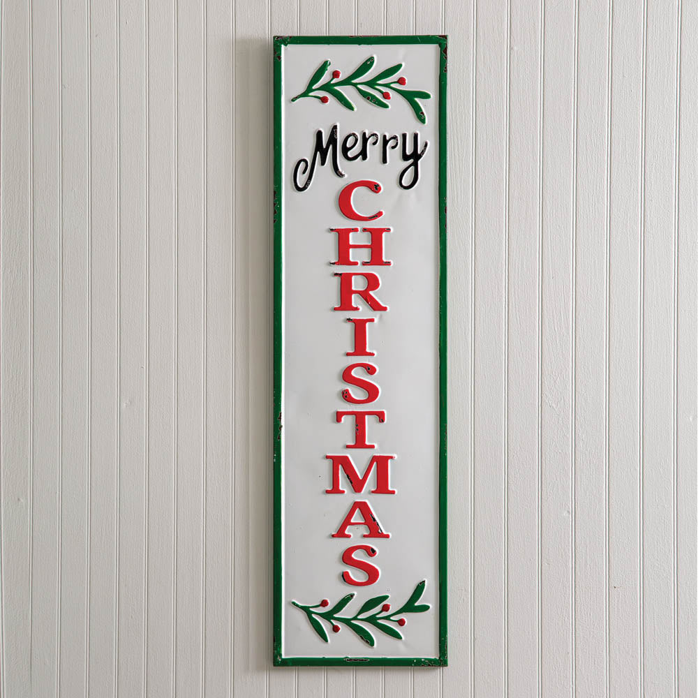 Holly Christmas Skinny Wall Sign
