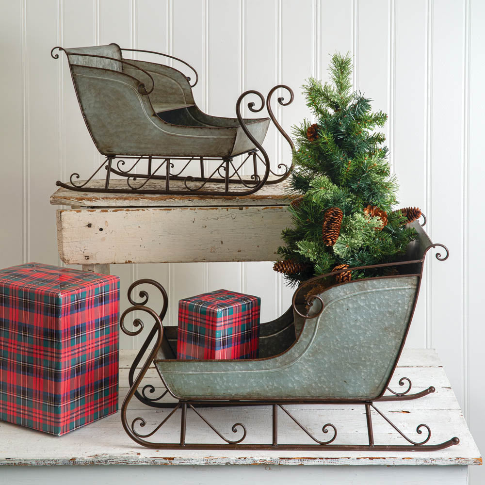 Galvanized Christmas Sleigh - Set of 2