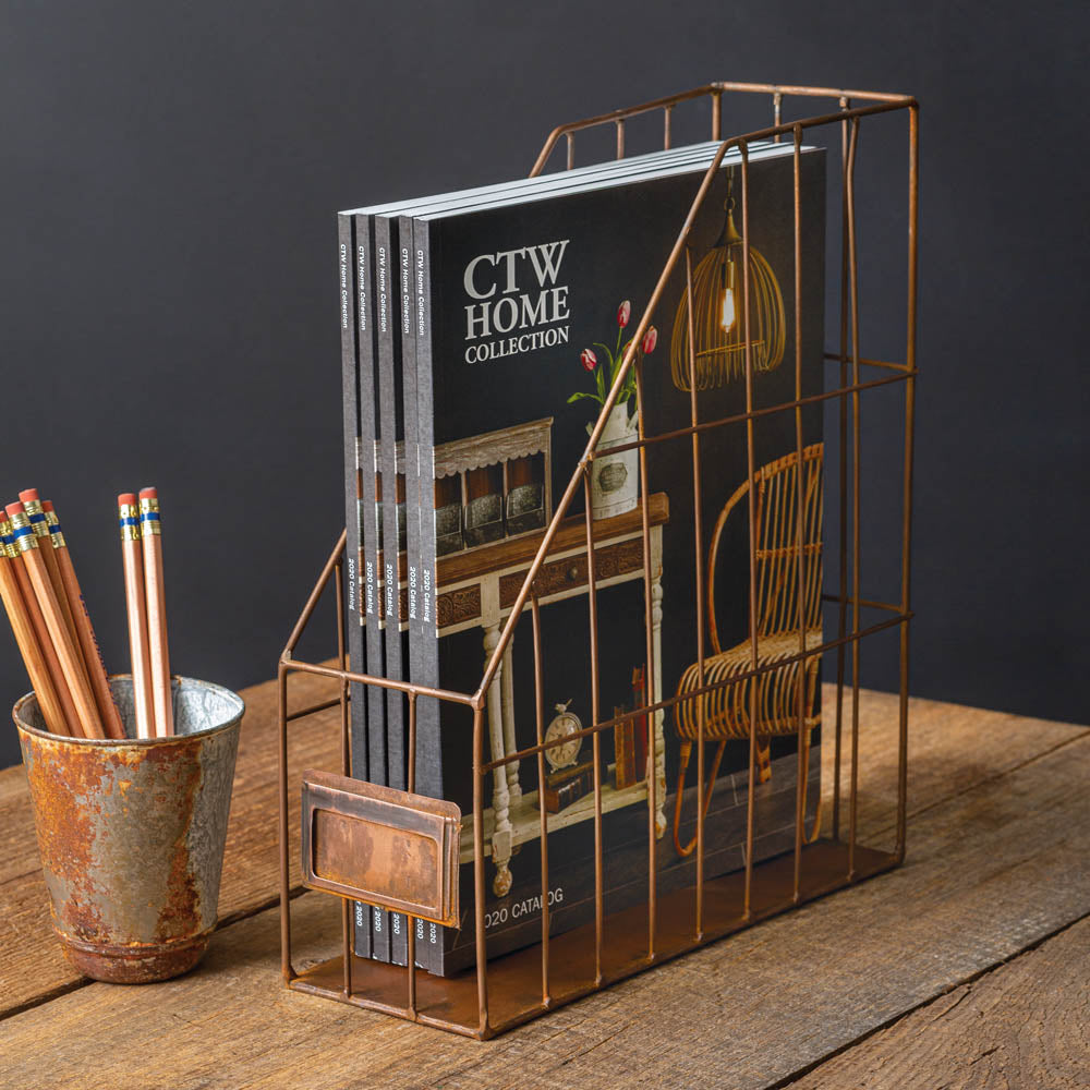 Rustic Copper Magazine Rack