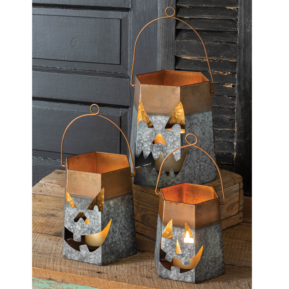 Two-toned Jack-o-Lantern Luminaries - Set of 3