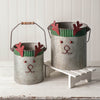 Galvanized Reindeer Buckets - Set of 2