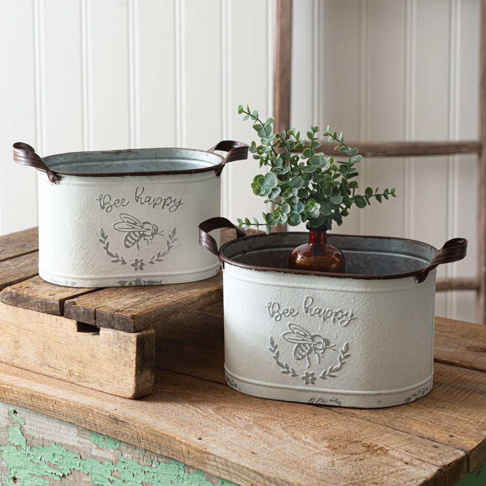 Chippy Bee Oval Buckets - Set of 2