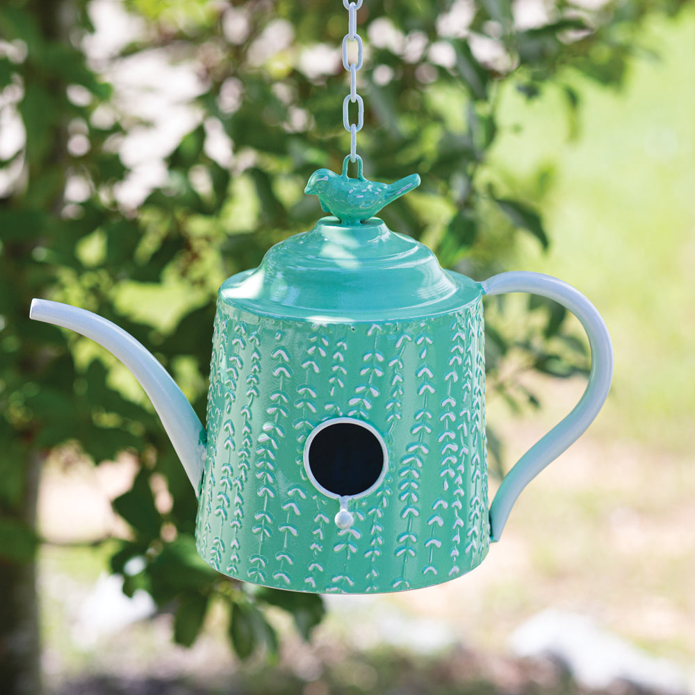 Charming Mint Tea Pot Birdhouse